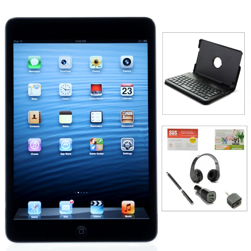 443-683 - Apple® iPad® Mini 16GB Wi-Fi Tablet w/ Online Storage, Headphones & Accessories Kit