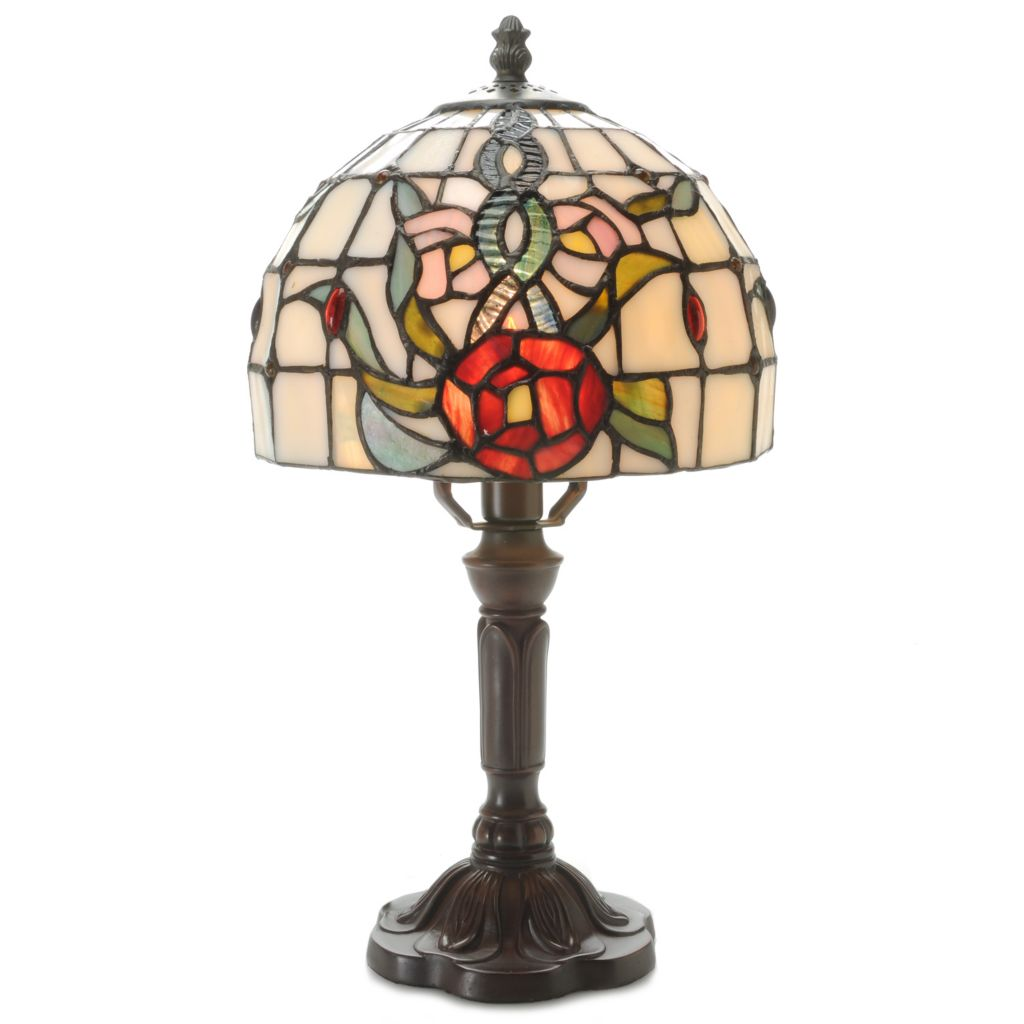 "443-684 - Tiffany-Style 15"" Floral Mini Stained Glass Accent Lamp"