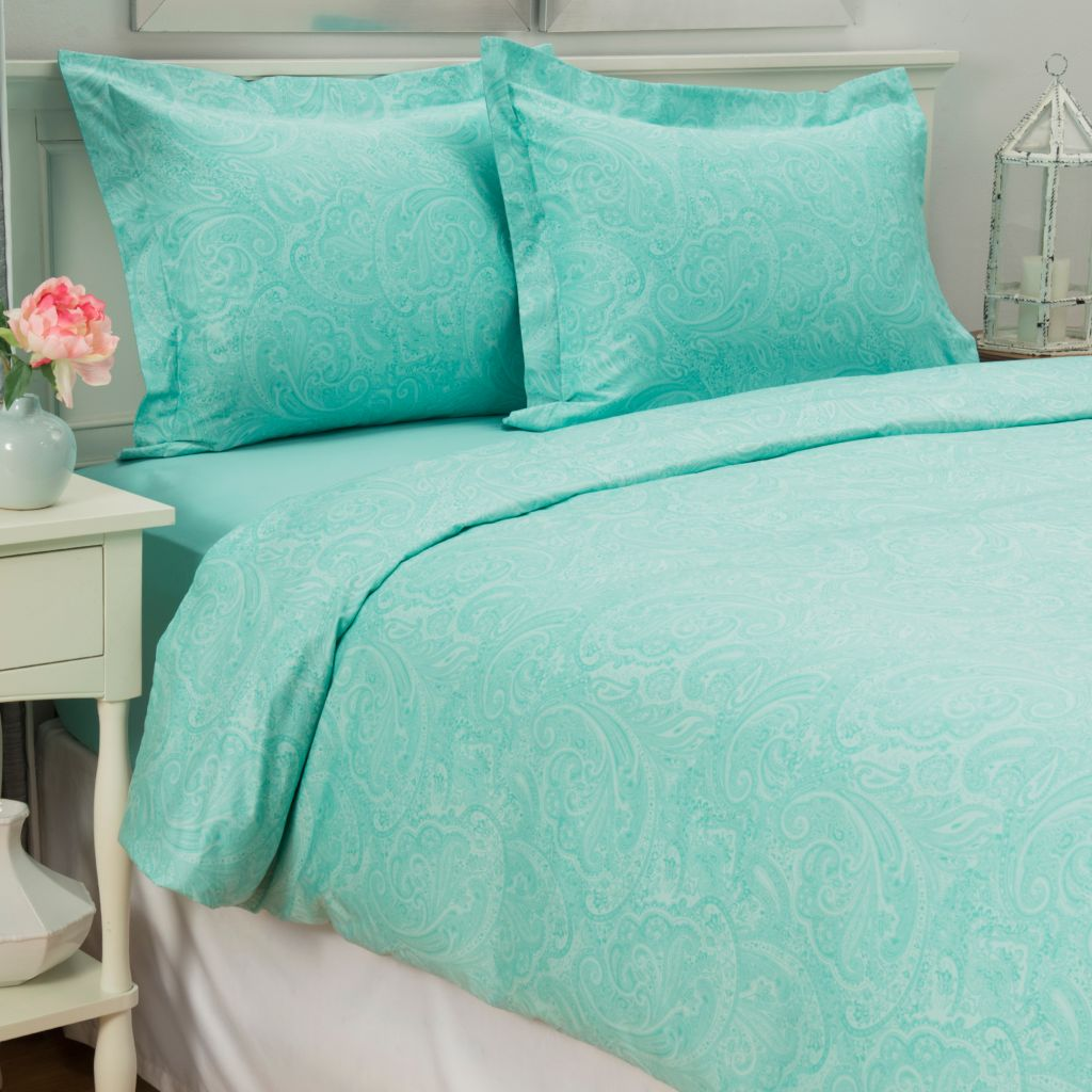 443-692 - North Shore Linens™ 700TC 100% Egyptian Cotton Paisley Three-Piece Duvet Set