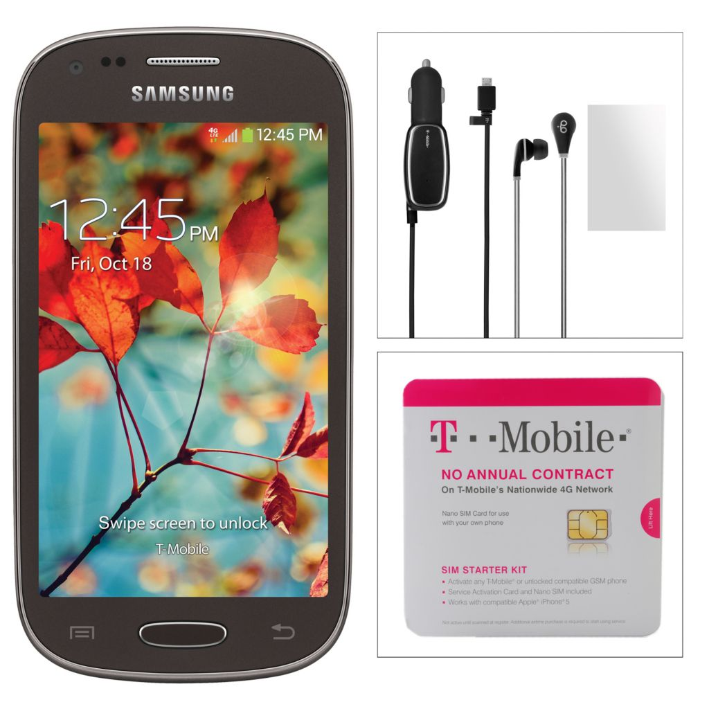 443-695 - Samsung Galaxy Light Smartphone w/ Accessories & T-Mobile No Annual Service Contract