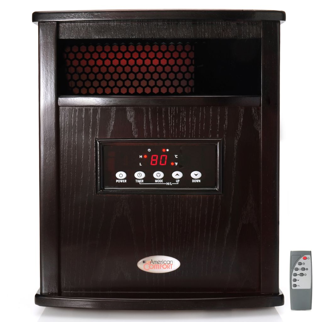 "443-890 - American Comfort® ""Titanium"" 1500W Quartz Infrared Espresso Finish Portable Heater"
