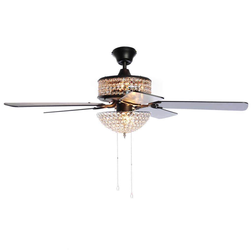 "443-948 - Style at Home with Margie 52"" Double Lit Crystal Glass Ceiling Fan"