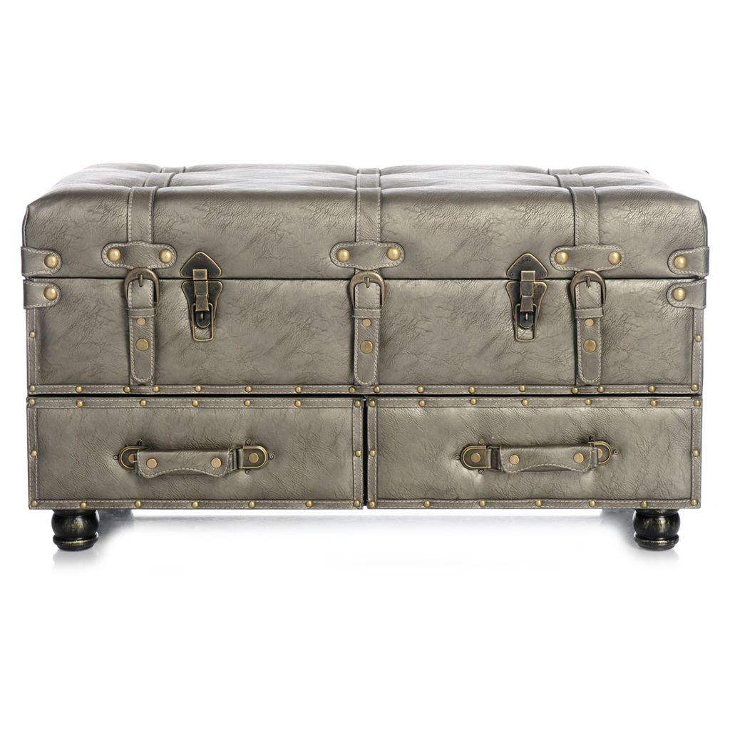 443-949 - Style at Home with Margie Tufted Faux Leather Triple Storage Bench
