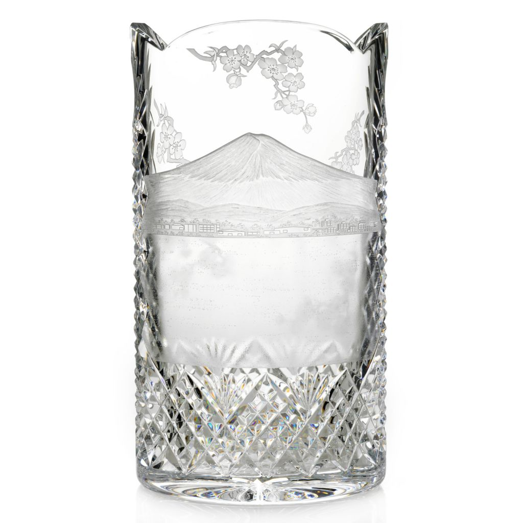 "443-962 - House of Waterford® Mount Fuji 12"" Crystal Engraved Vase"