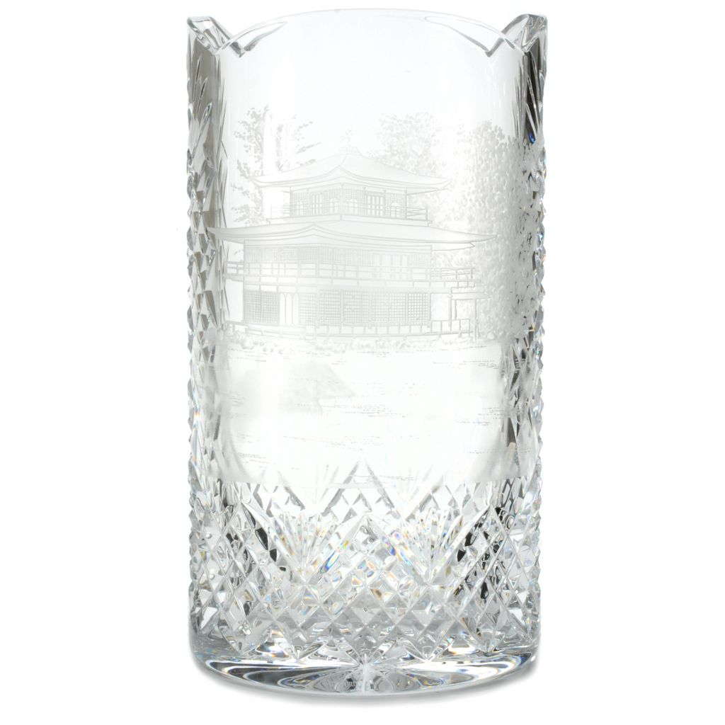 "443-963 - House of Waterford® Pagoda 12"" Crystal Copper Wheel Engraved Vase"