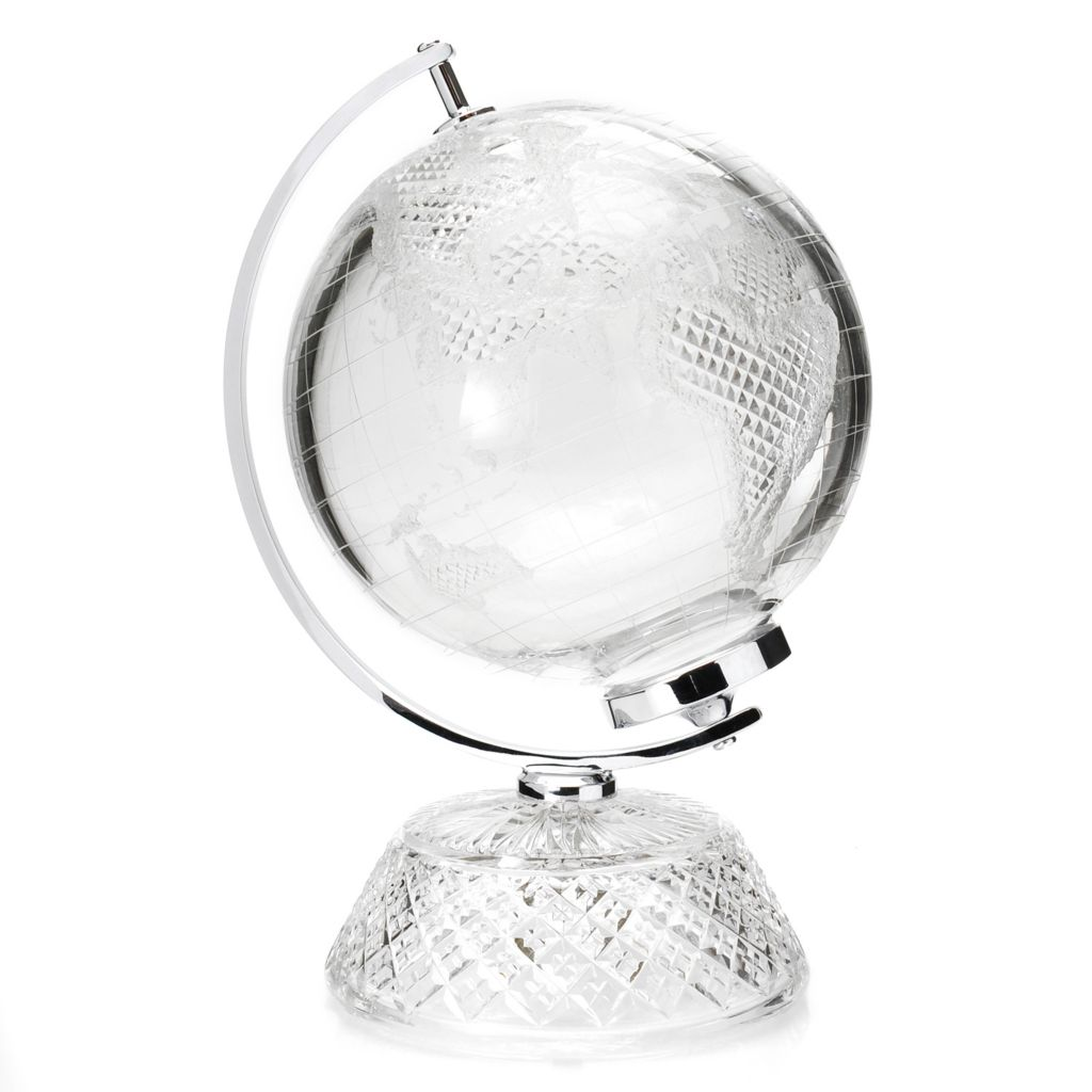 "443-970 - House of Waterford® 11.5"" 11.5"" Crystal Small World Globe – Signed by Tom Brennan"