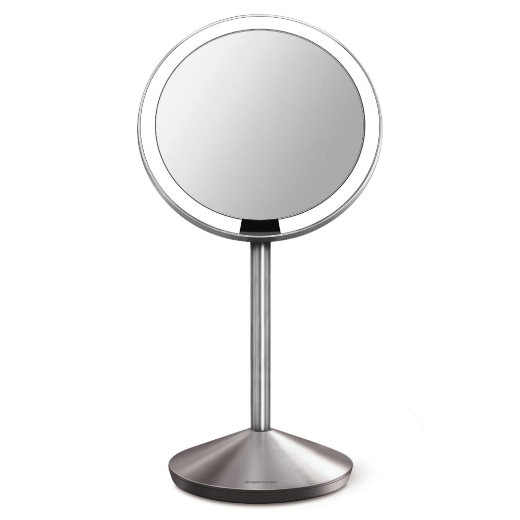 444-010 - simplehuman® Stainless Steel Tru-lux™ Lighted Mini Sensor Mirror w/ Travel Case
