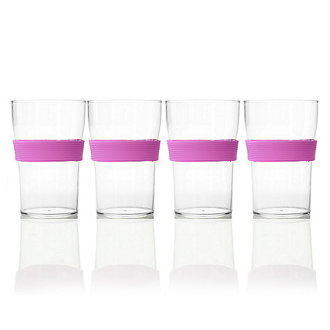 444-176 - Cook's Companion® Set of Four 13 oz Tritan™ Tumblers w/ Colored Silicone Bands