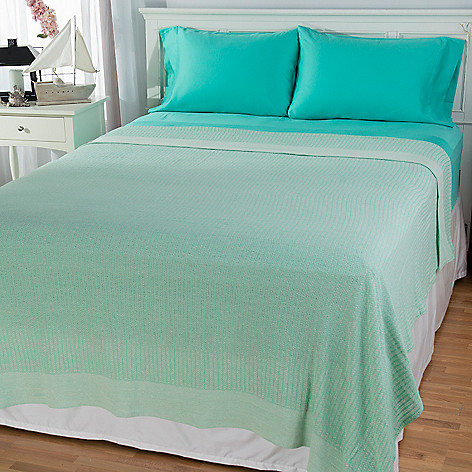 444-179 - Cozelle® 100% Cotton Blanket w/ 300TC Four-Piece Sheet Set