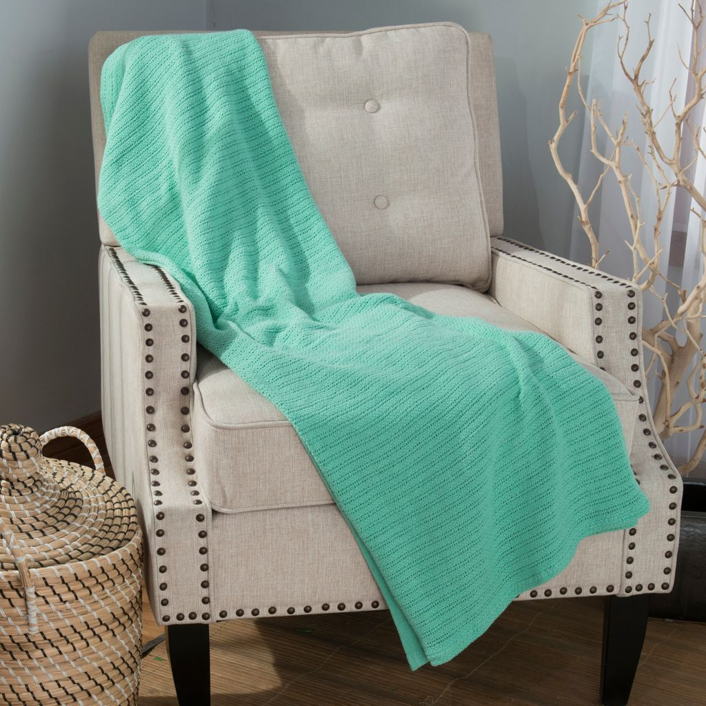 "444-182 - Cozelle® 60"" x 50"" 100% Cotton Solid Throw"