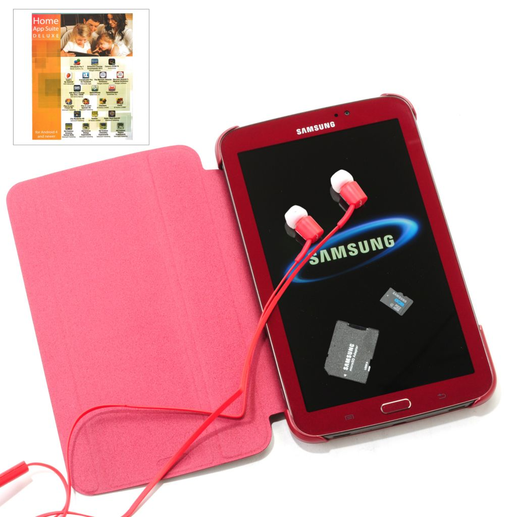 "444-190 - Samsung 7"" 8GB Android™ 4.1 Red Galaxy Tab 3 w/ Headphones, Cover, Software & SD Card"