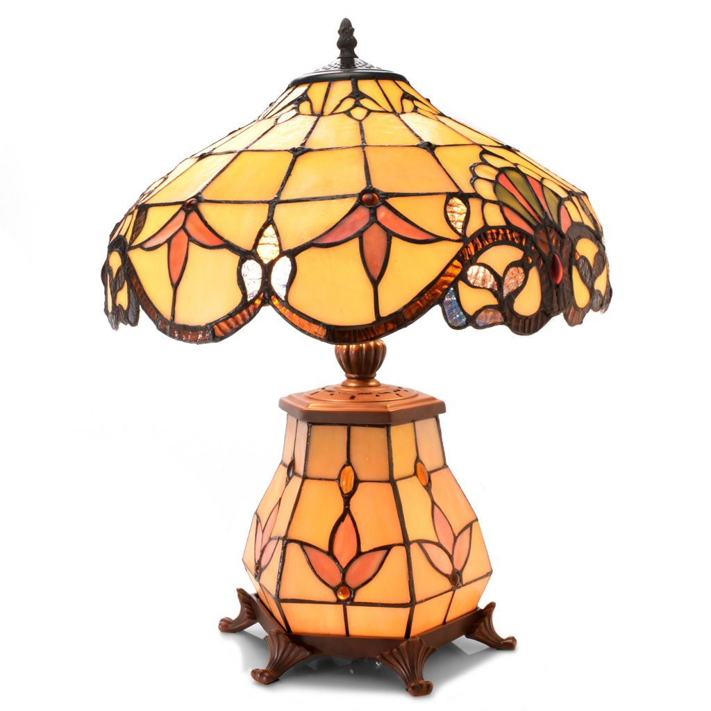 "444-196 - Tiffany-Style 20.75"" Allistar Double Lit Stained Glass Table Lamp"