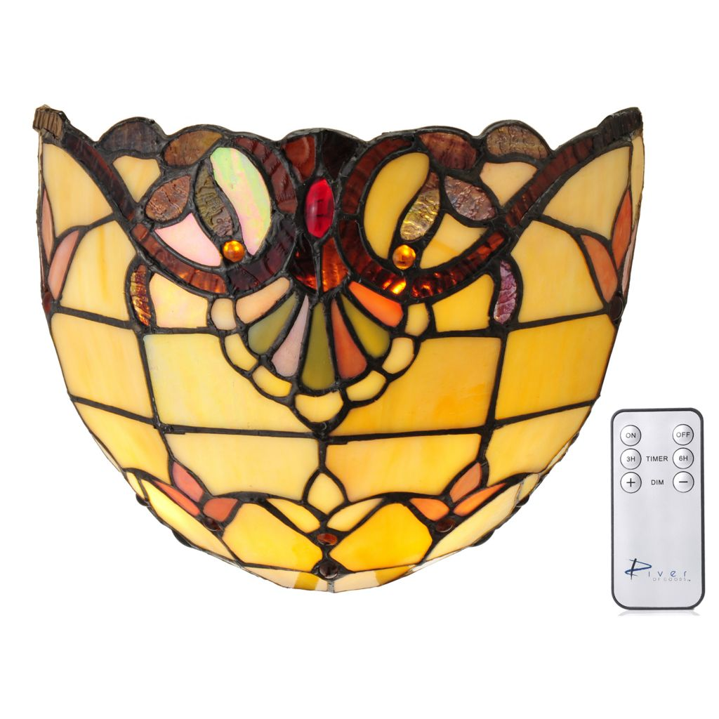 """444-197 - Tiffany-Style 8.25"""" Allistar Wireless LED Stained Glass Wall Sconce"""