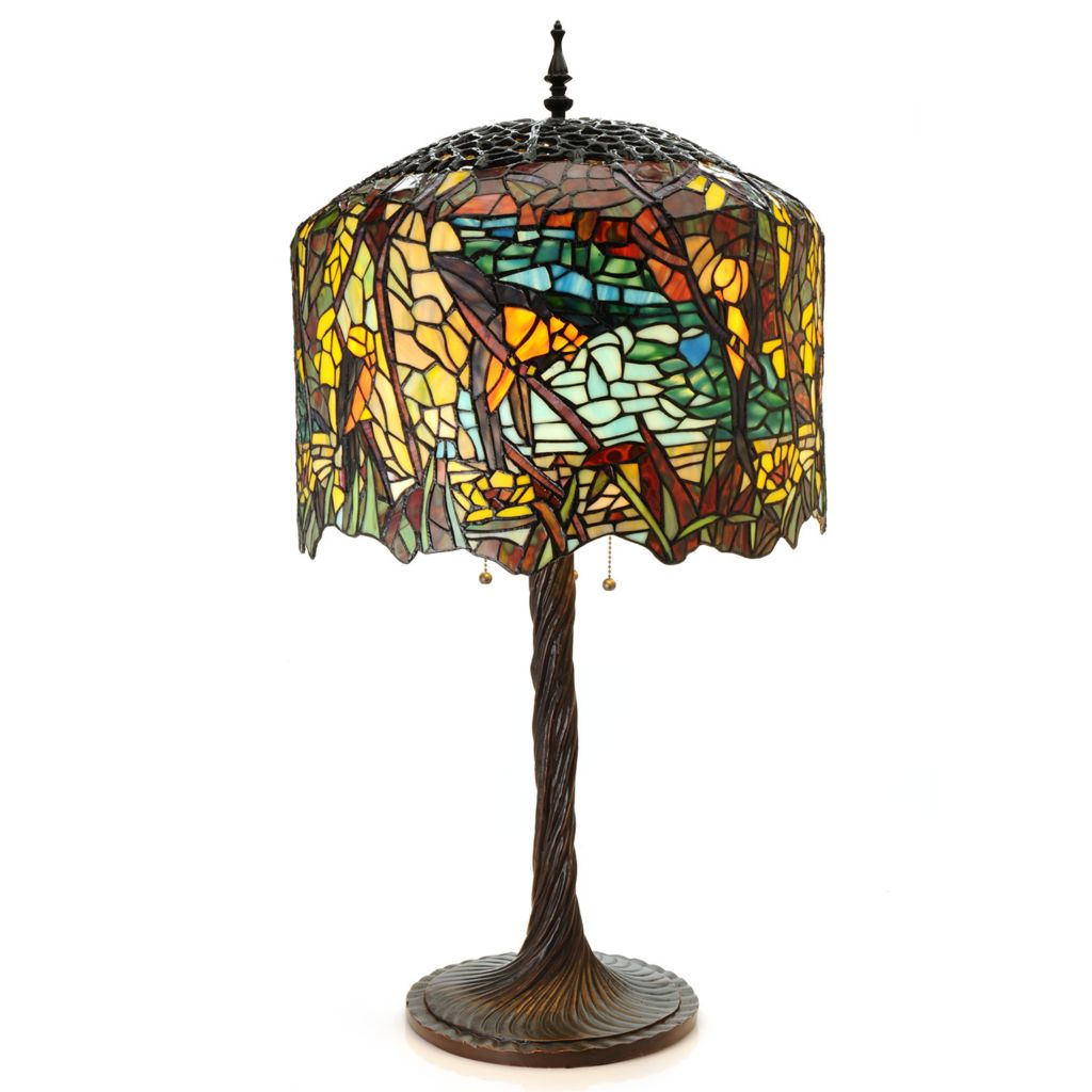 "444-200 - Tiffany-Style 32.25"" Grand Birds of Paradise Stained Glass Table Lamp"
