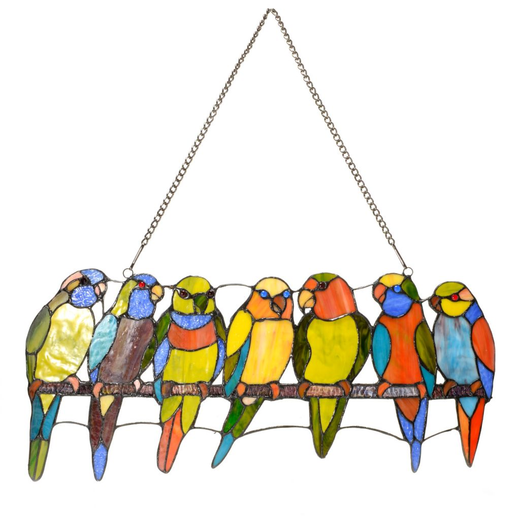 "444-201 - Tiffany-Style 24"" Tropical Birds on a Wire Stained Glass Window Panel"