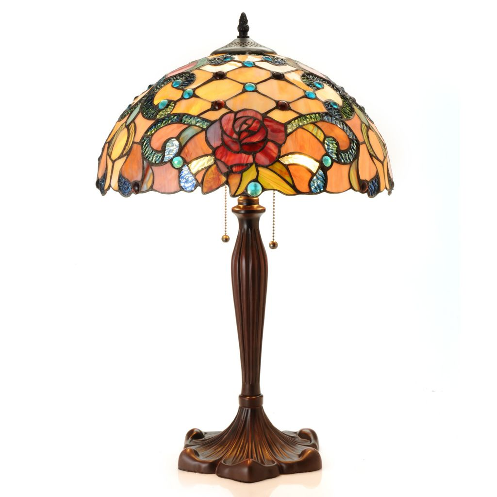 "444-202 - Tiffany-Style 24"" Queen's Garden Stained Glass Table Lamp"