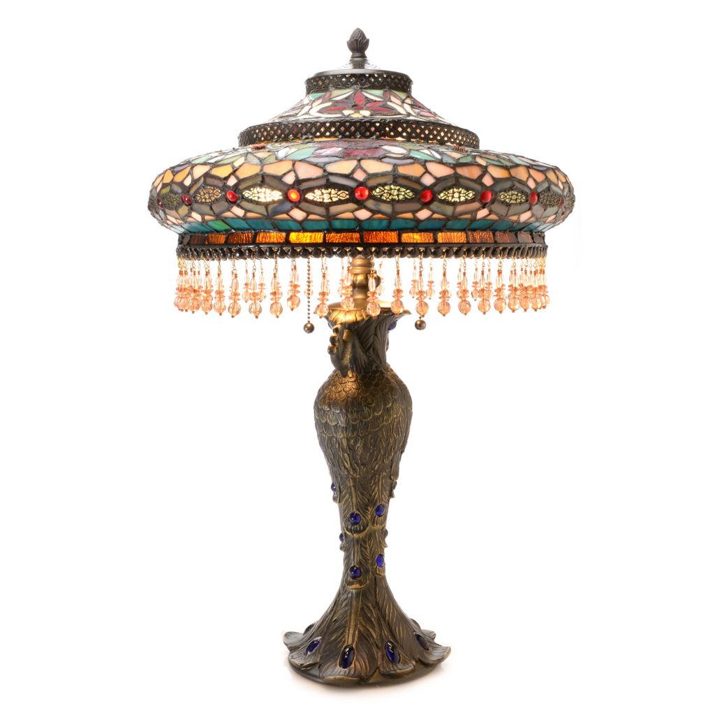 """444-204 - Tiffany-Style 26.5"""" Parisian Stained Glass Beaded Two-Tiered Table Lamp"""
