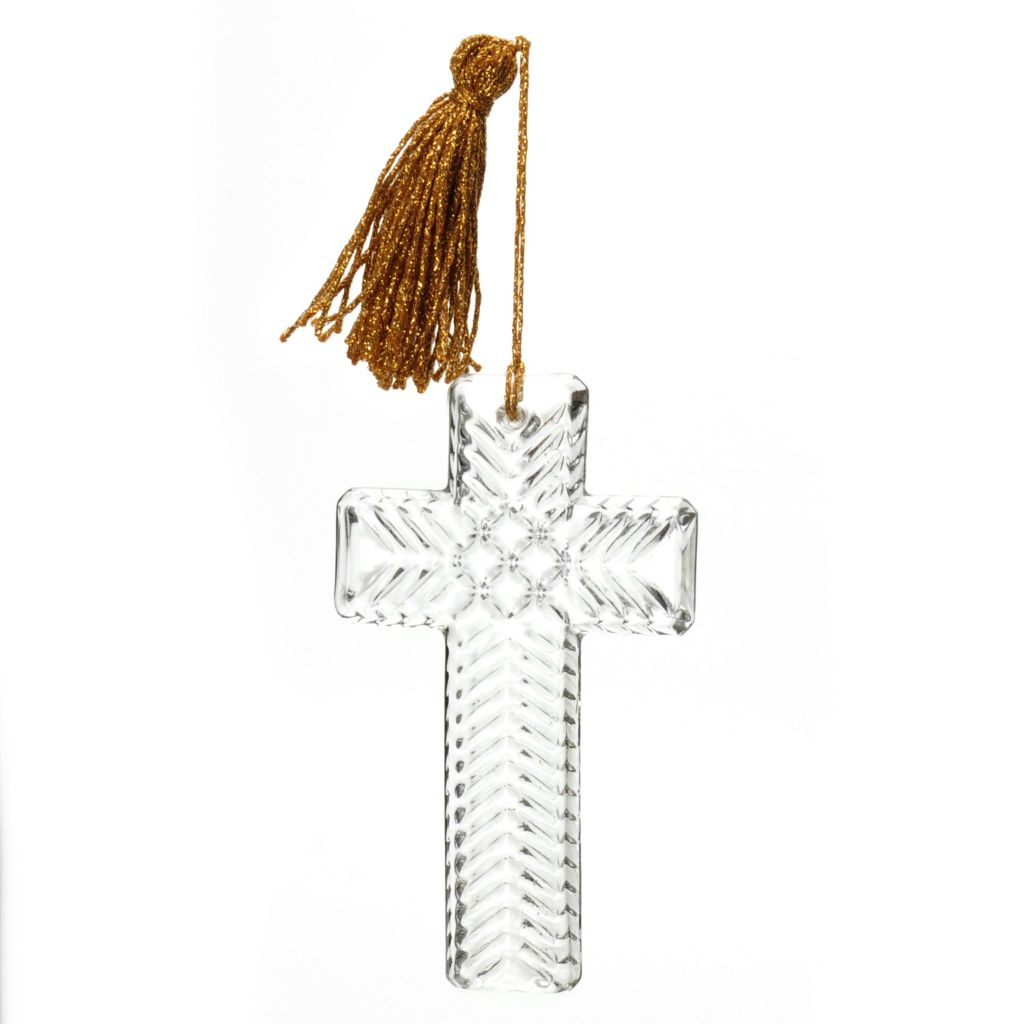 "444-217 - Marquis® by Waterford® 4.5"" Crystal Wedge Cut Cross Ornament"