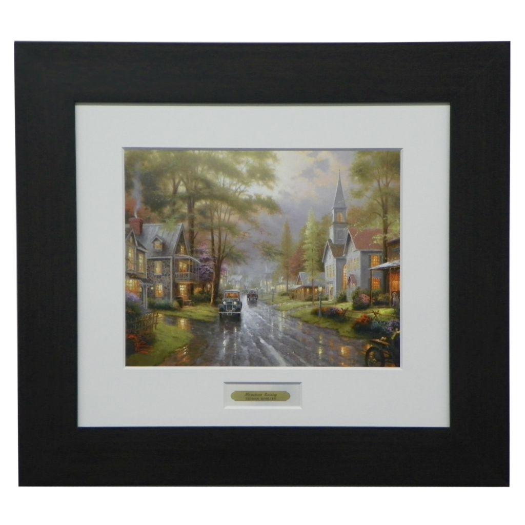 """444-224 - Thomas Kinkade """"Hometown Evening"""" Espresso Framed Print"""