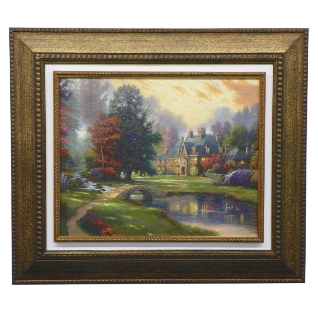 "444-225 - Thomas Kinkade ""Lakeside Manor"" Framed Textured Floating Print"