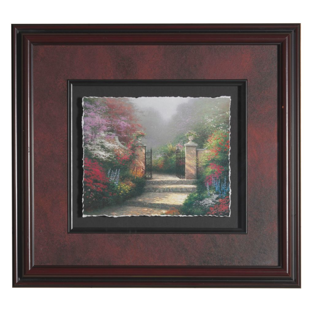 "444-228 - Thomas Kinkade"" Victorian Garden"" Framed Textured Floating Print"
