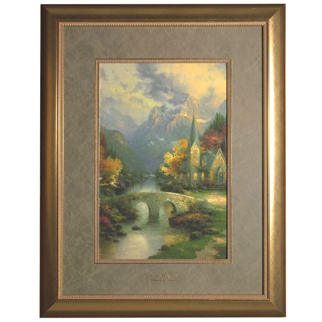 "444-229 - Thomas Kinkade ""Mountain Chapel"" Framed Print"