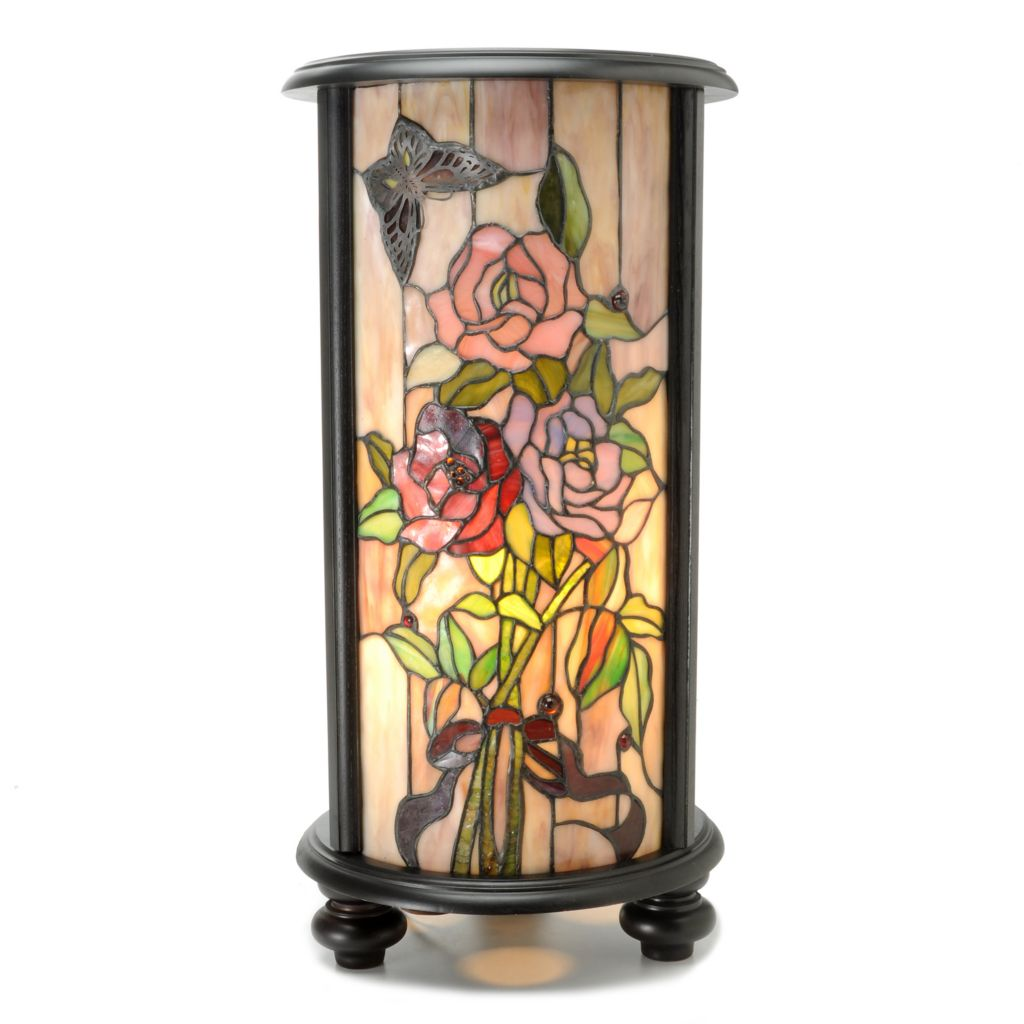 "444-233 - Tiffany-Style 23"" Marlene Stained Glass Floral Pedestal Lamp"