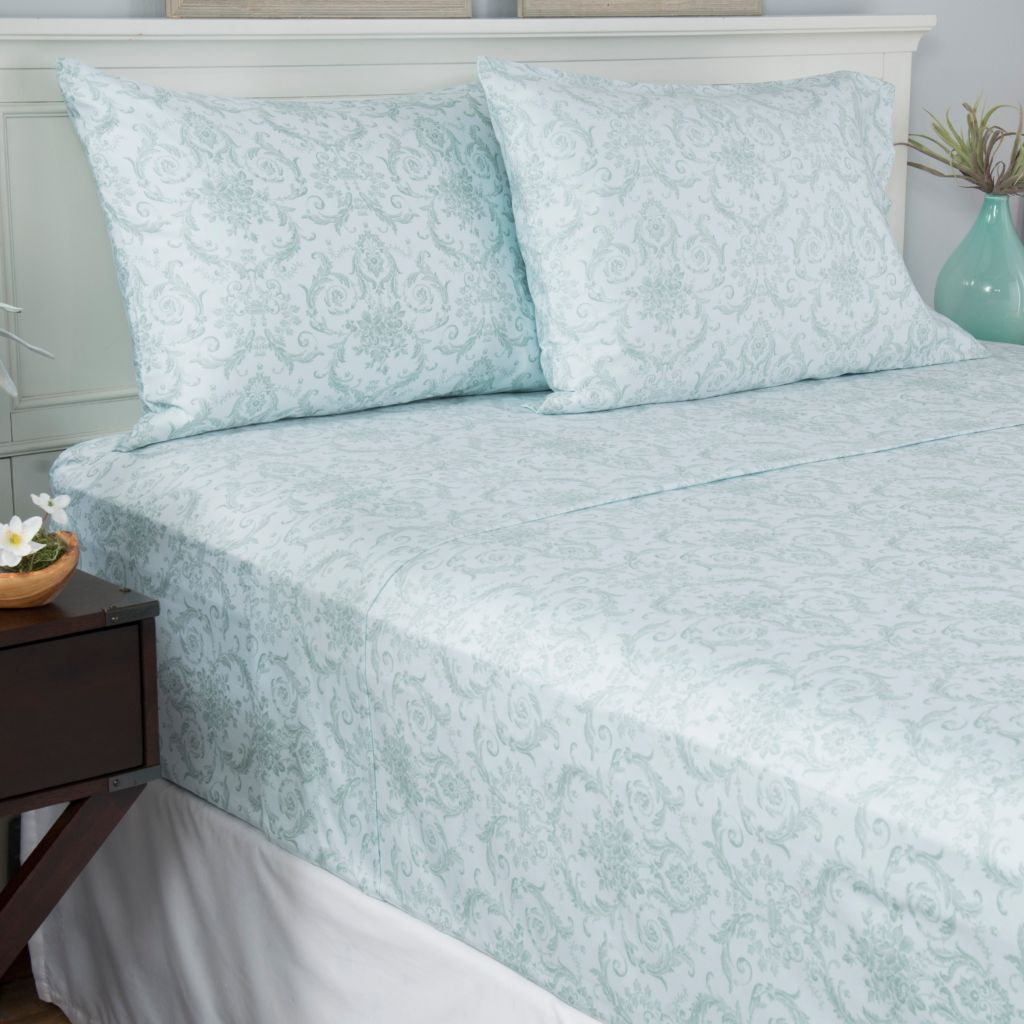 444-260 - North Shore Linens™ 400TC 100% Cotton Scroll Four-Piece Sheet Set