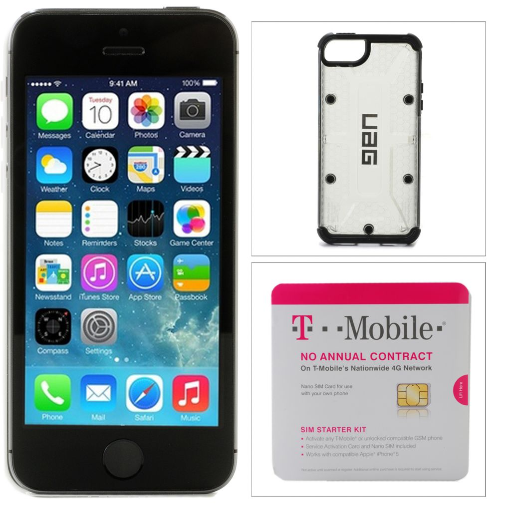 444-264 - Apple® iPhone 5s 4G LTE 16GB Unlocked Smartphone w/ SIM Card & Case