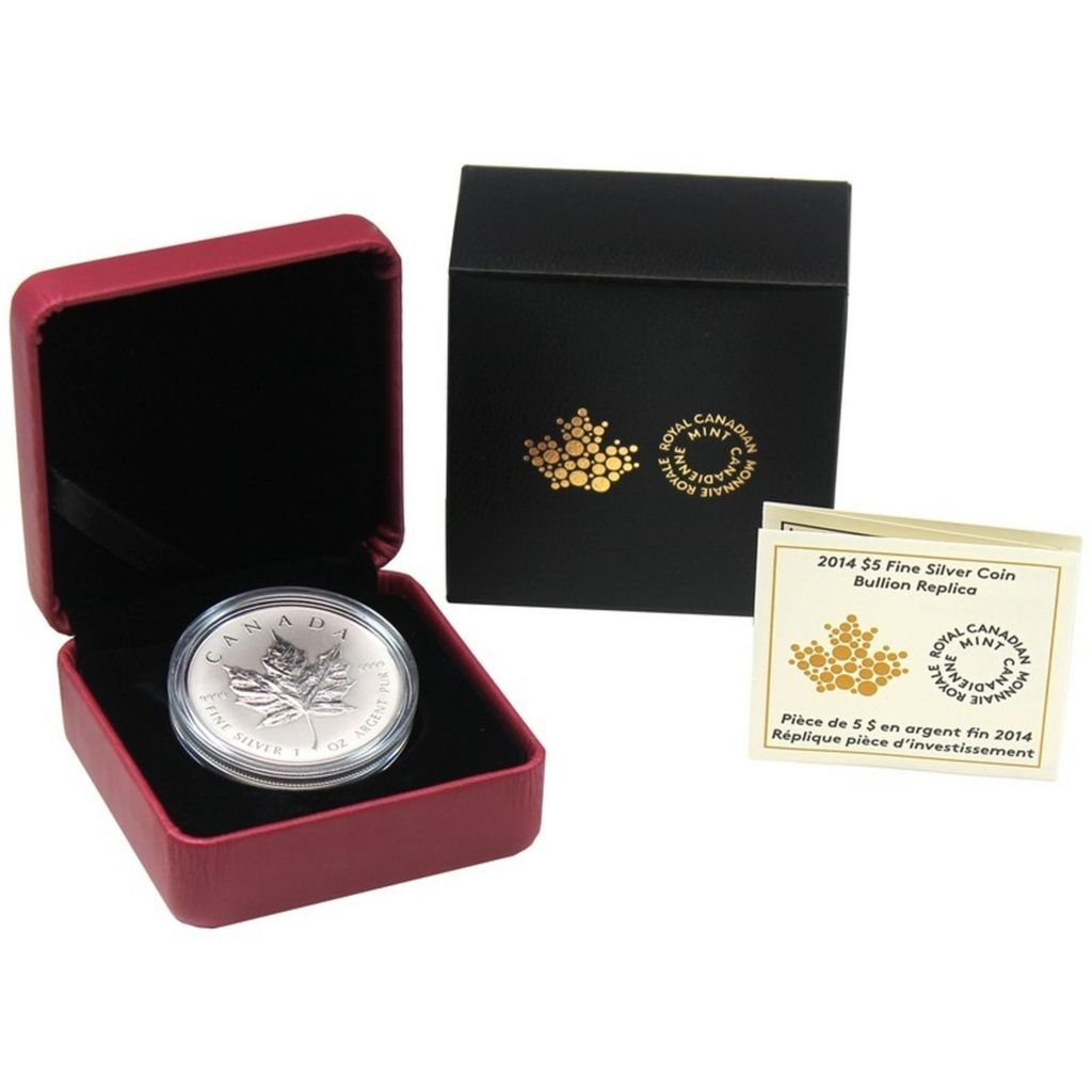 444-277 - 2014 $5 Silver Maple Leaf Bullion Replica Reverse Proof Coin