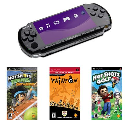 444-289 - Sony® PSP® 3K Wi-Fi Portable Gaming System Hot Shots Bundle w/ Three Games