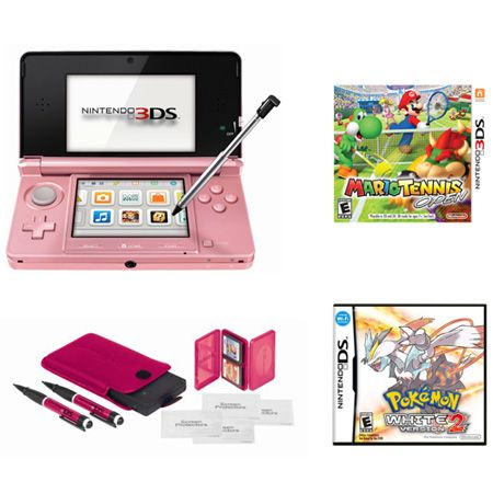 444-291 - Nintendo 3DS Portable Gaming System Bundle w/ Mario Tennis, Pokemon White V2 & Accessory Kit