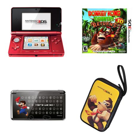 444-292 - Nintendo 3DS Portable Gaming System Bundle w/ Donkey Kong Returns Game & Accessories