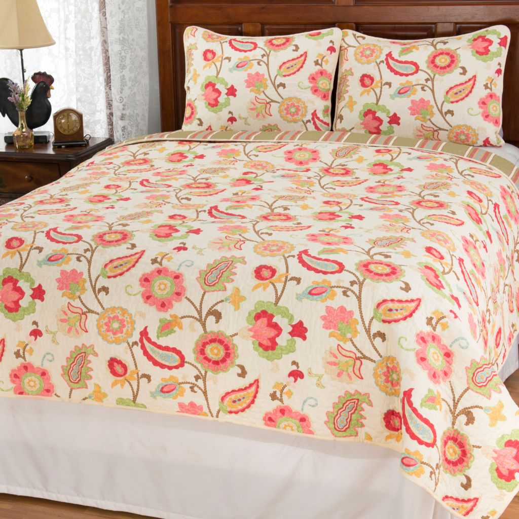 444-331 - Cozelle® Cotton/Poly Blend Multi Floral & Striped Reversible Three-Piece Quilt S