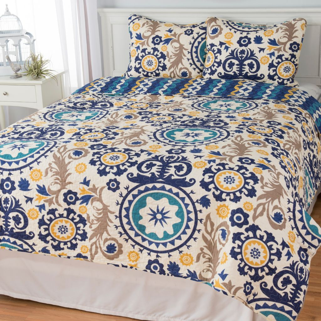 444-336 - Cozelle® Cotton/Poly Blend Medallion & Wave Striped Reversible Three-Piece Quilt Set