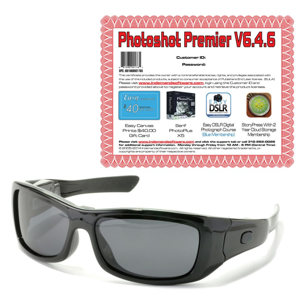 444-338 - VidVision Polarized Sport Sunglasses w/ HD Video Recording & Software