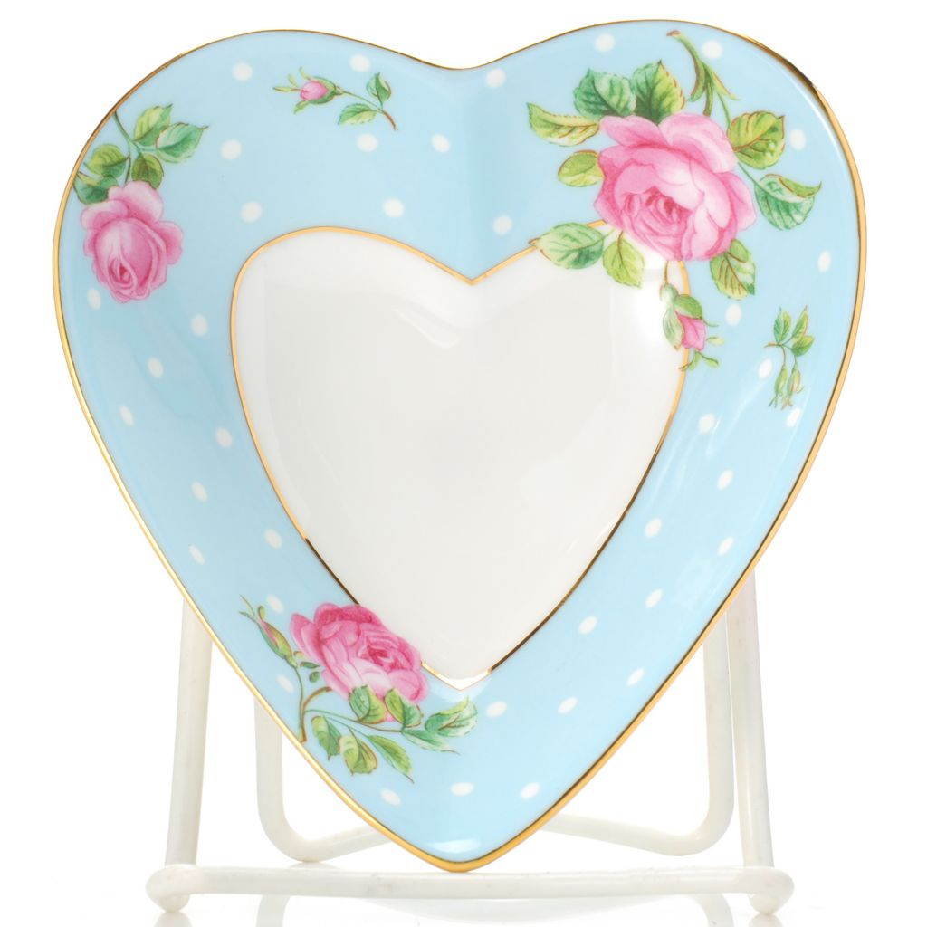 "444-350 - Royal Albert® New Country Roses 5"" Bone China Polka Dots & Floral Heart Tray"