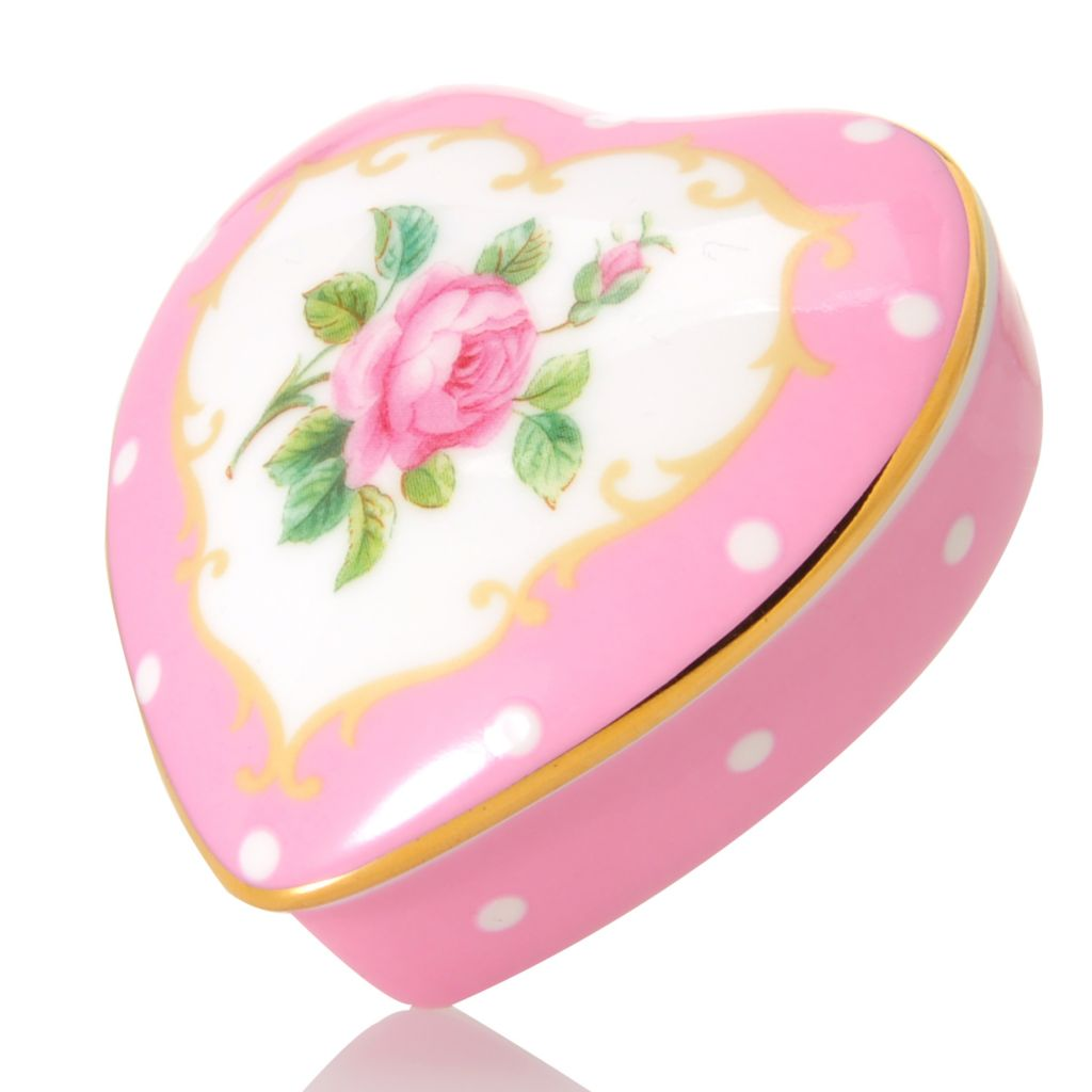 "444-351 - Royal Albert® New Country Roses 2.25"" Bone China Heart Box w/ Lid"