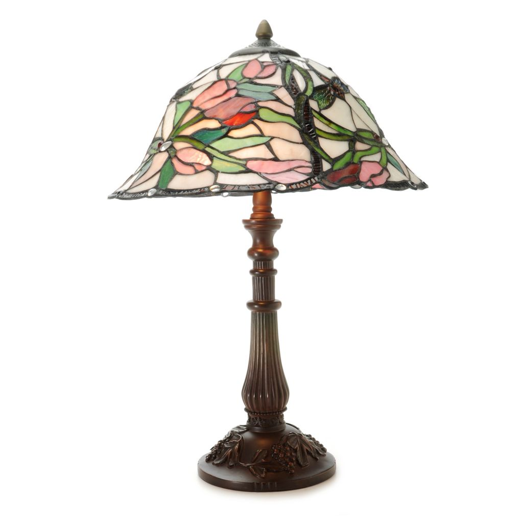 "444-353 - Tiffany-Style 22"" Braided Tulips Stained Glass Table Lamp"