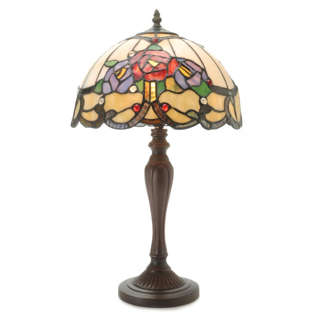 "444-357 - Tiffany-Style 20"" Rose Nouveau Stained Glass Table Lamp"