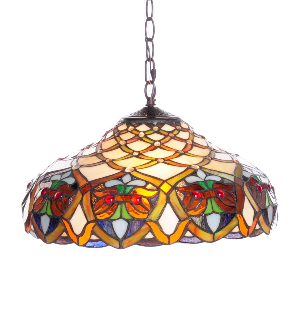 "444-366 - Tiffany-Style 53"" Arielle Geometric Stained Glass Hanging Lamp"