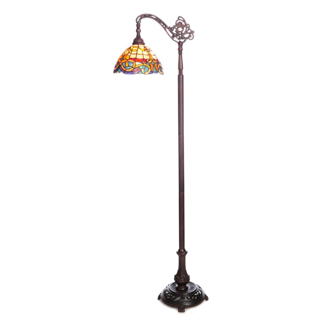 "444-368 - Tiffany-Style 60.5"" Baroque Stained Glass Side Arm Floor Lamp"