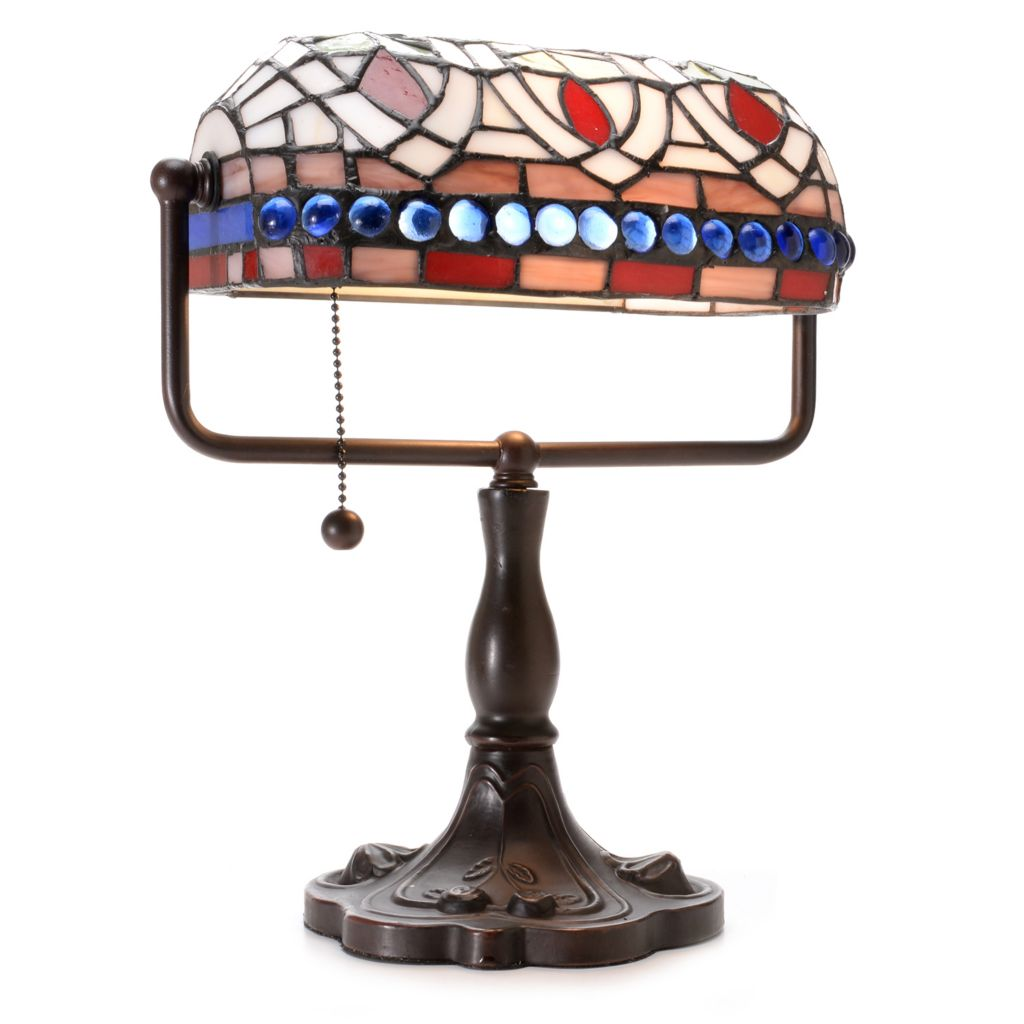 "444-369 - Tiffany-Style 12"" Tulip Stained Glass Desk Lamp"