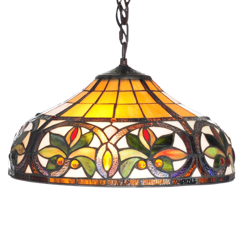 "444-370 - Tiffany-Style 60"" Geometric Stained Glass Hanging Lamp"