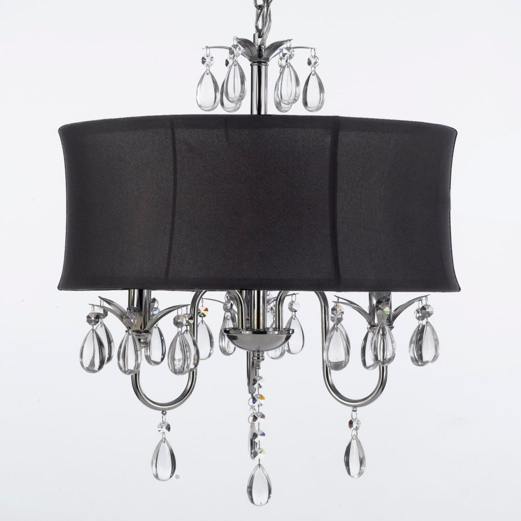 "444-393 - Gallery 22"" Three-Light Crystal Chandelier w/ Shade"