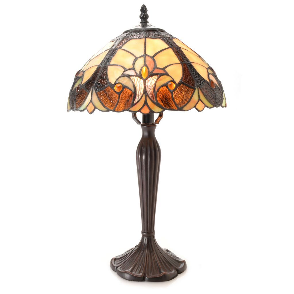 "444-465 - Tiffany-Style 19.5"" Halston Baroque-Style Stained Glass Table Lamp"