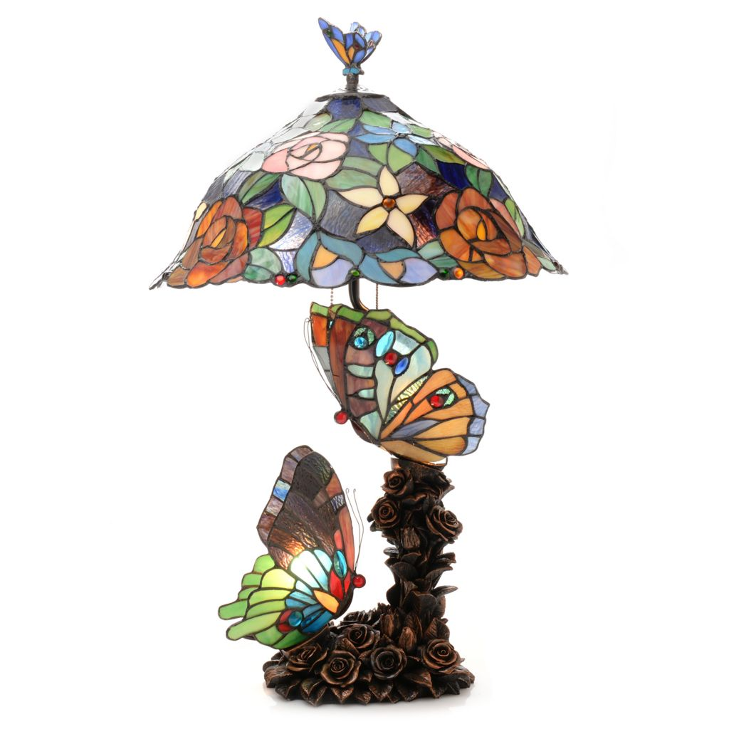 "444-469 - Tiffany-Style 28"" Sweet Serenity Butterfly Triple Lit Stained Glass Table Lamp"