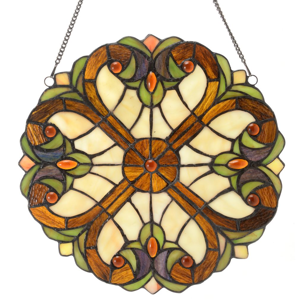 "444-474 - Tiffany-Style 12"" Halston Suncatcher Stained Glass Window Panel"