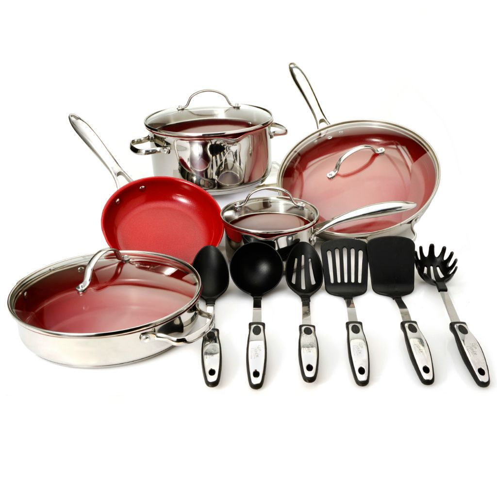 444-490 - Kevin Dundon Signature Series Stainless Steel Color Ceramic Nonstick 15-Piece Cookware Set
