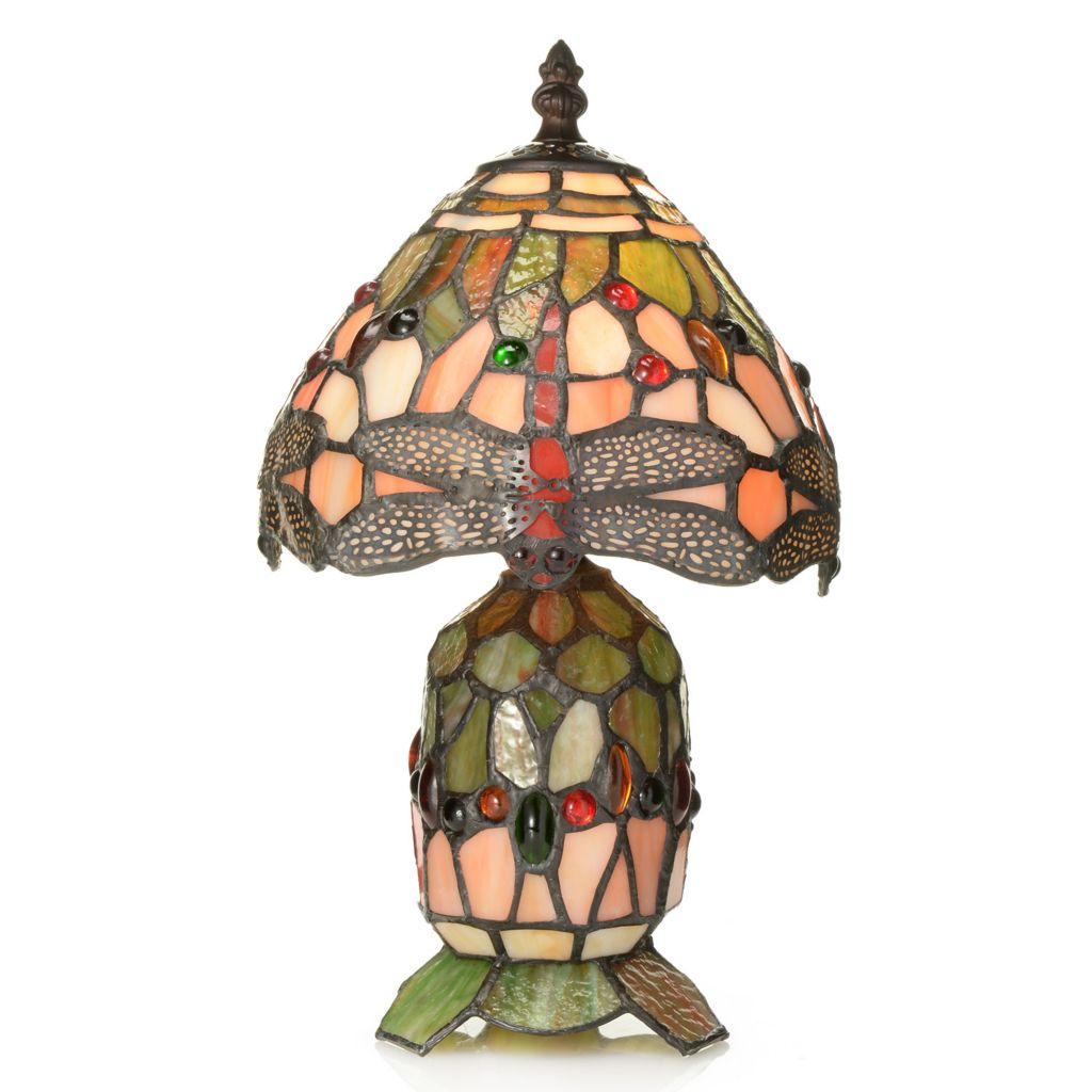 "444-515 - Tiffany-Style 13"" Dragonfly Double Lit Stained Glass Accent Lamp"